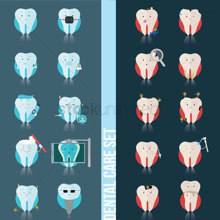 Tooth with braces : Set of dental care icons