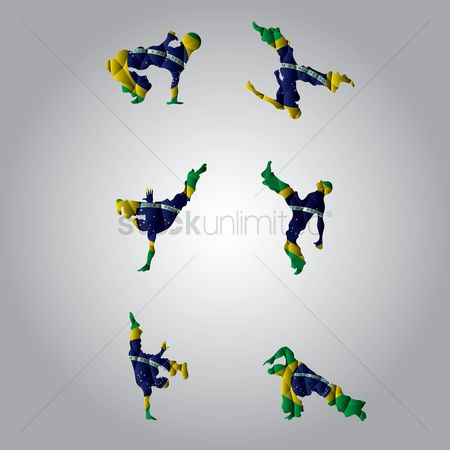 Acrobats : Set of double exposures of capoeira and brazil flags