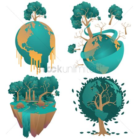 Flow : Set of earth globe and trees concept