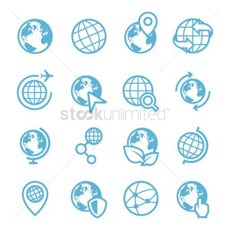 Flights : Set of earth icons