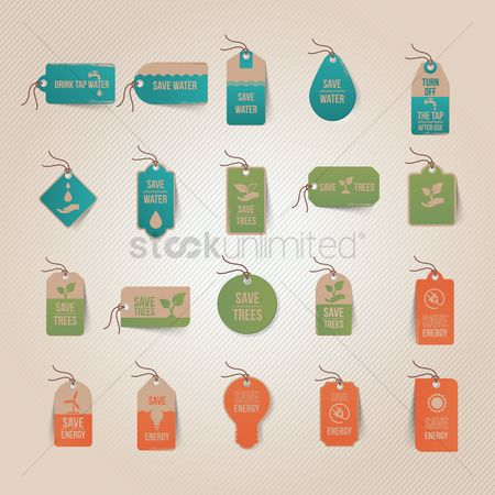 Save trees : Set of eco tags
