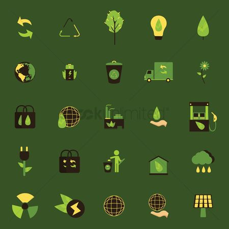 Hand truck : Set of ecology icons