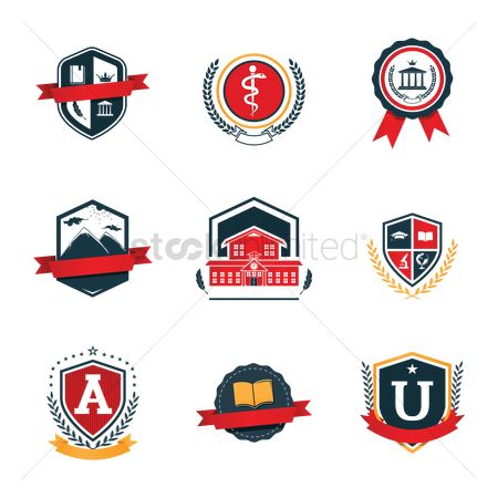 Mountain laurel : Set of education logo design icons
