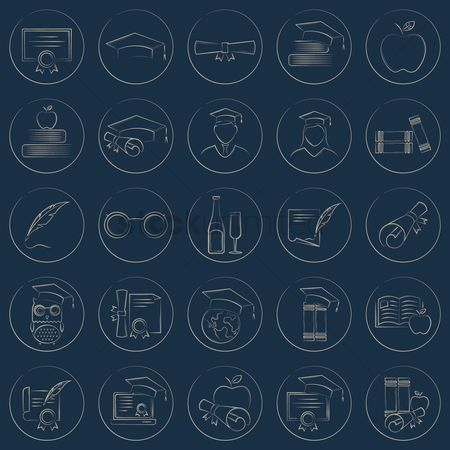 Achievements : Set of educational icons