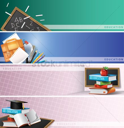 Blackboard : Set of educational supplies on banners