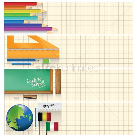 Educational banner : Set of educational supplies on banners