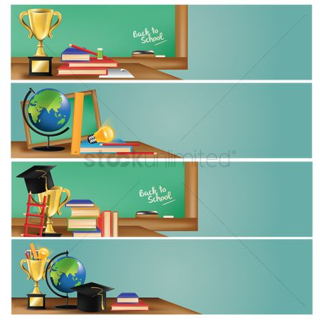 Trophy : Set of educational supplies on banners