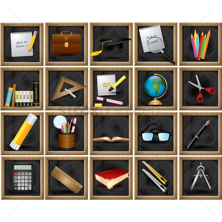 Briefcase : Set of educational tools on blackboard