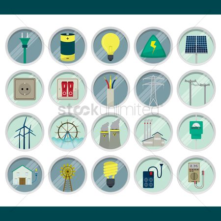 Nuclear : Set of electric icons