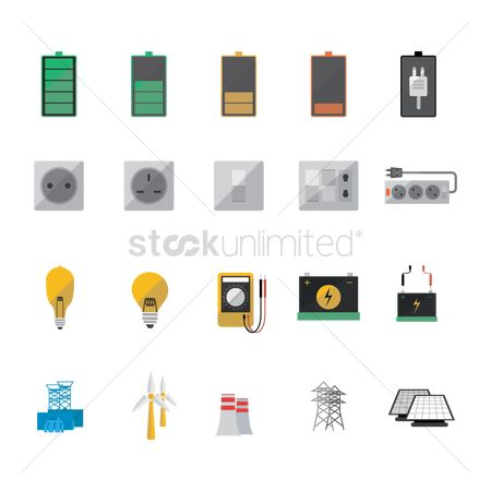 Charging icon : Set of electric icons