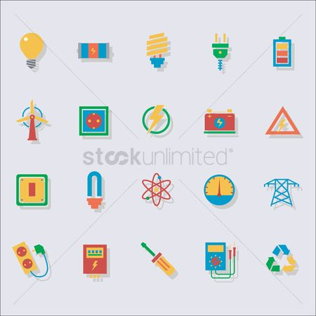 Nuclear : Set of electrical icons