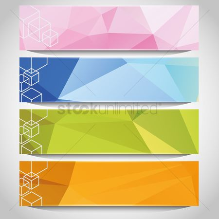 Polygon : Set of faceted banners