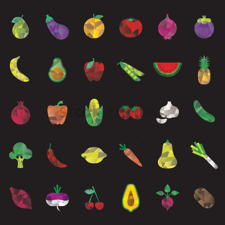 Bananas : Set of faceted fruits and vegetables