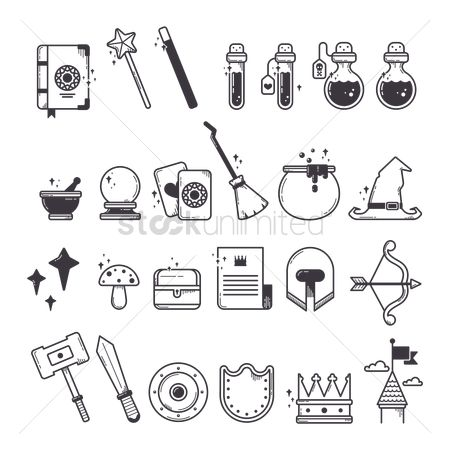 Linear : Set of fantasy icons