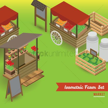 Market : Set of farm market icons