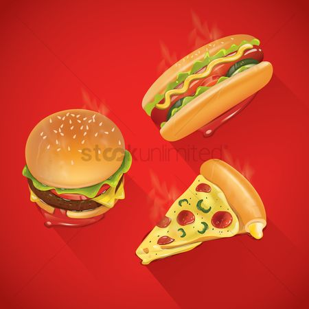 Pizzas : Set of fast food icons