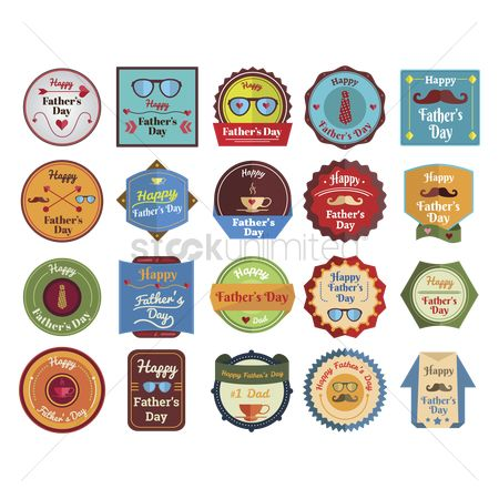 Cup : Set of father s day labels