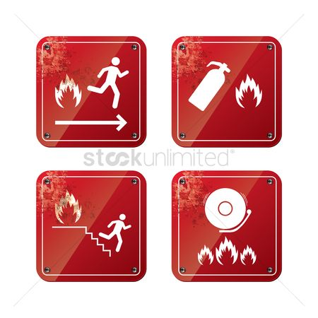 Fire extinguisher : Set of fire caution sign boards