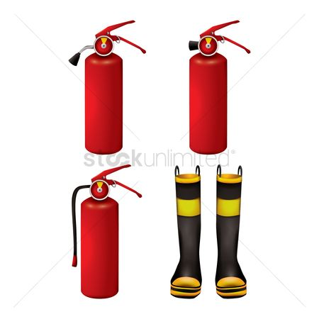 Fire extinguisher : Set of fire station icons