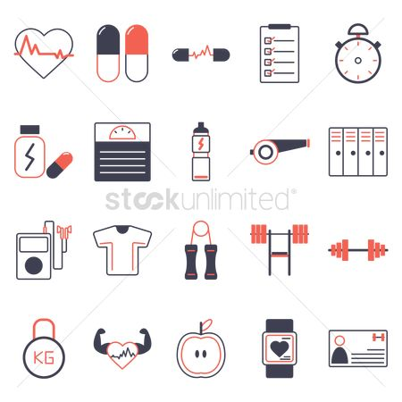 Apple : Set of fitness icons