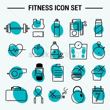 Junk food : Set of fitness icons
