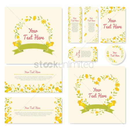 Heart shape : Set of floral template icons