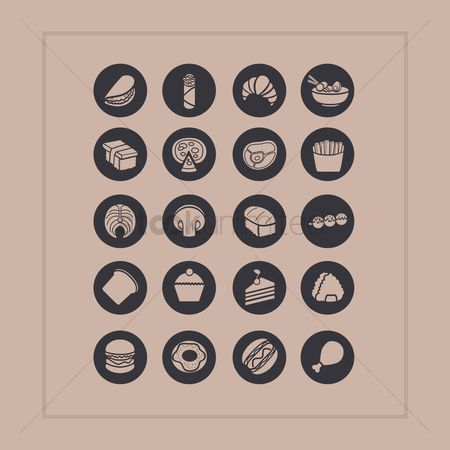 French fries : Set of food icons