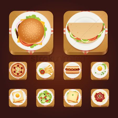 Pizzas : Set of food icons