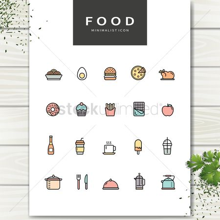 Red : Set of food icons