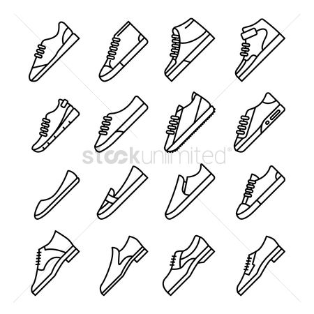 Trendy : Set of footwear icons