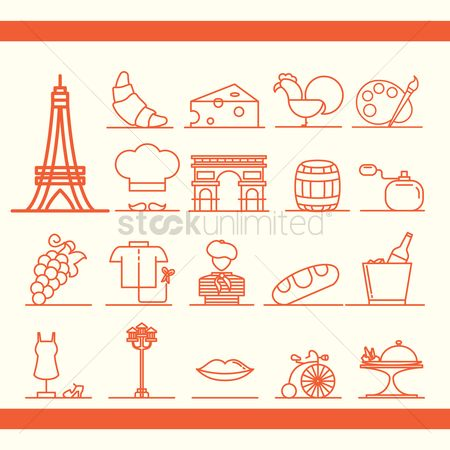 Croissants : Set of france icons