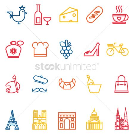 Croissant : Set of france icons