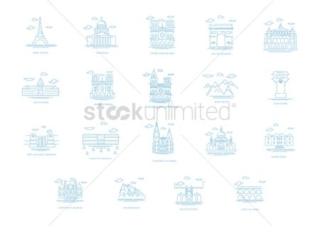 Pont du gard : Set of france landmarks icons
