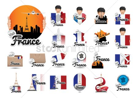 Beret : Set of france tourism icons