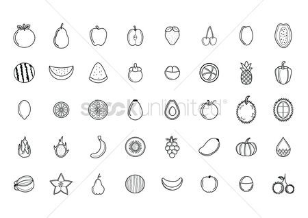 Bananas : Set of fruit and vegetable icons