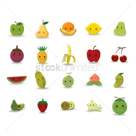 Red : Set of fruit and vegetable icons