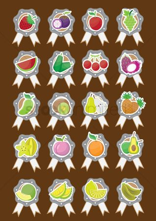 Mangoes : Set of fruit icons