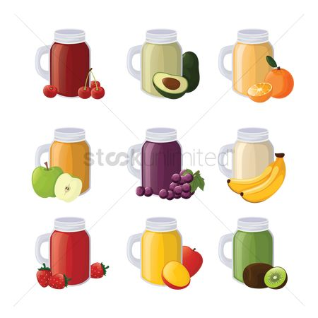 Grapes : Set of fruit juice jars