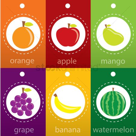 Mangoes : Set of fruit label