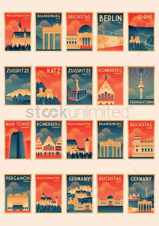 Buildings : Set of germany poster icons