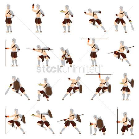 Arm : Set of gladiator soldiers with action