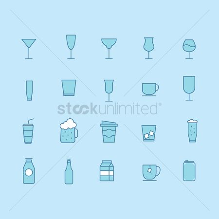 Beer mug : Set of glassware icons