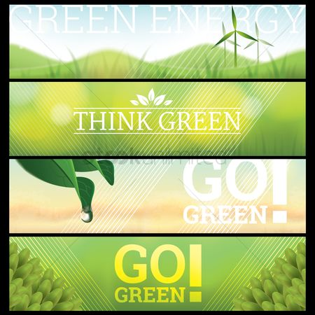Think : Set of go green banners
