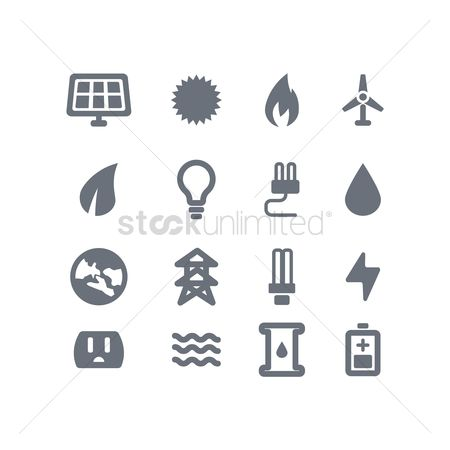 Electricity : Set of go green concept icons