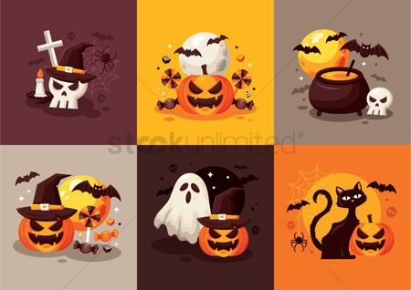Head : Set of halloween designs