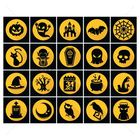 Oct : Set of halloween icons