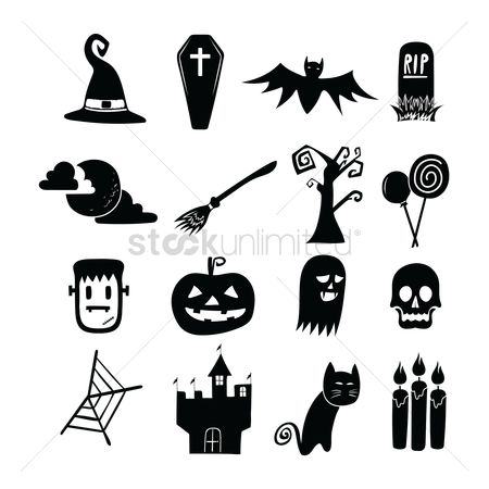 Jack o lantern : Set of halloween icons