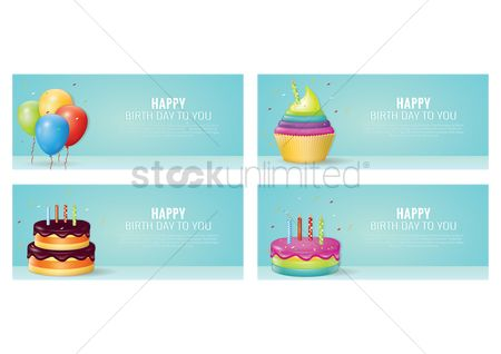 Lorem ipsum : Set of happy birthday banners