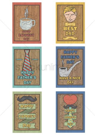 Ties : Set of happy father s day poster