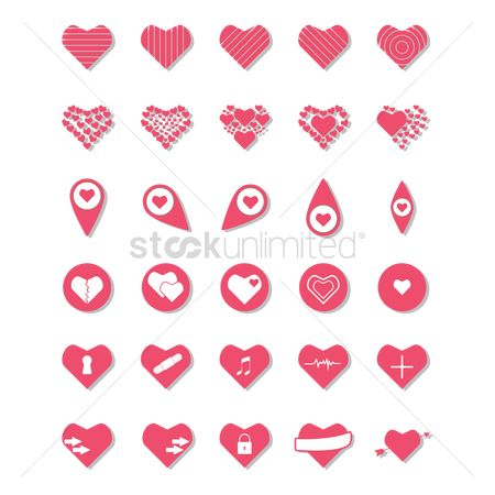 Plus : Set of heart icons